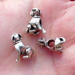 Silver Dog Beads 3D Animal Focal Bead (4pcs / 13mm x 16mm / Tibetan Silver / 2 Sided) Large Hole European Bead Bracelet Pet Jewelry CHM2159