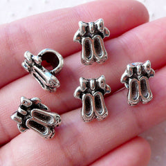Silver Ballet Shoes Beads / Ballerina Focal Bead (5pcs / 9mm x 13mm / Tibetan Silver) Dancer Jewelry European Bracelet Slider Beads CHM2161