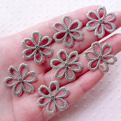 5 Flower Charms Connector Pendants Links Silver Floral Findings 2 Holes Assorted