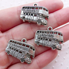 London Bus Charms (3pcs / 25mm x 19mm / Tibetan Silver) UK Travel Charm Vehicle Tranport Transportation Charm Novelty Jewellery CHM2170