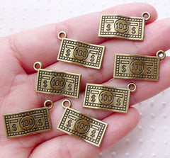 100 Dollar Note Charms One Hundred Dollar Bill Pendant (7pcs / 21mm x 13mm / Antique Bronze / 2 Sided) Money Cash Whimsy Kitsch CHM2186