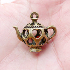 3D Miniature Teapot Charms Dollhouse Tea Pot Pendant (1 piece / 25mm x 23mm / Antique Bronze / 2 Sided) Whimsy Jewelry Novelty Charm CHM2189