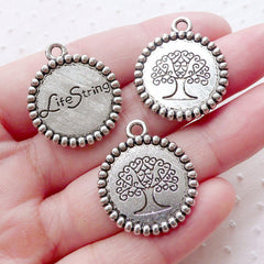 Life String Tree of Life Charms (3pcs / 22mm x 26mm / Tibetan Silver / 2 Sided) Sacred Jewelry Eternal Banyan Tree Oak Tree Yoga CHM2191