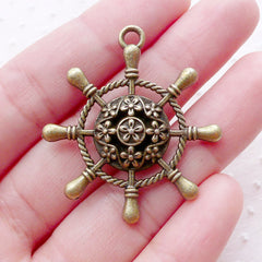 Large Ship Wheel Charm (1 piece / 35mm x 38mm / Antique Bronze / 2 Sided) Big Nautical Pendant Boat Yacht Sailboat Sailing Cruising CHM2192