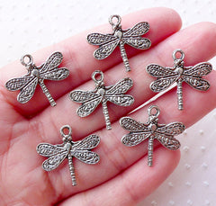 Silver Dragonfly Charms Insect Pendant (6pcs / 21mm x 19mm / Tibetan Silver / 2 Sided) Earrings Necklace Bracelet Nature Jewellery CHM2193