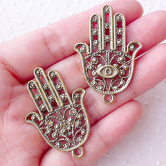 Large Hamsa Hand Charms Big Khamsa Hand with Evil Eye Pendant (2pcs / 28mm x 41mm / Antique Gold) Judaica Islam Judaism Fatima Hand CHM2198