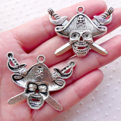 Pirate Skull Charms with Cross Swords (2pcs / 43mm x 33mm / Tibetan Silver) Halloween Novelty Jewellery Party Decoration Favor Charm CHM2206
