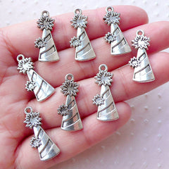 Party Cone Popper Charms Confetti Party Popper Pendant (8pcs / 10mm x 23mm / Tibetan Silver) Christmas Party Favor Charm Invitation CHM2208