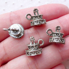 3D Wedding Cake Charms Cute Miniature Sweets Pendant (4pcs / 13mm x 11mm / Tibetan Silver / 2 Sided) Wedding Party Decor Favor Charm CHM2215