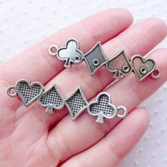 Card Suit Connector Charms / Poker Links (3pcs / 47mm x 14mm / Tibetan Silver) Alice in Wonderland Jewelry Casino Las Vegas Bracelet CHM2226