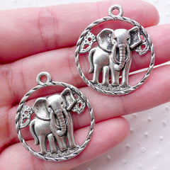 African Elephant Charms (2pcs / 28mm x 32mm / Tibetan Silver) Exotic Animal Necklace Earrings Pendant Safari Baby Shower Decoration CHM2233