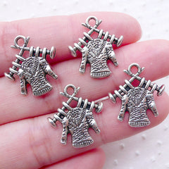 Sweater Knitting Charms / Knitted Sweater Pendant (4pcs / 17mm x 19mm / Tibetan Silver / 2 Sided) Mothers Day Charm Gift for Knitter CHM2236