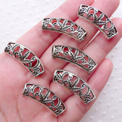Filigree Marijuana Curved Tube Beads with Hollow Back (6pcs / 29mm x 12mm / Tibetan Silver) Suede Leather Bracelet Necklace Making CHM2237