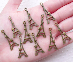 Bronze Eiffel Tower with Star Charms (10pcs / 13mm x 30mm / Antique Bronze / 2 Sided) Paris Travel Vacation Passport Case Decoration CHM2238