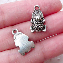 Money Frog Charms / Lucky Toad with Coin Pendant (6pcs / 11mm x 17mm / Tibetan Silver) Good Fortune Abundance Prosperity Feng Shui CHM2244