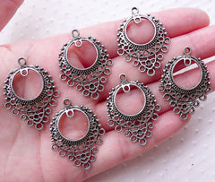 Silver Charm Hanger / Multi Charms Holder (6pcs / 24mm x 33mm / Tibetan Silver) Earring Components Necklace Pendant Jewelry Findings CHM2245