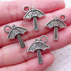 Beach Umbrella Charms (4pcs / 16mm x 19mm / Tibetan Silver / 2 Sided) Summer Jewellery Beach Party Decor Purse Zipper Pull Charm CHM2232