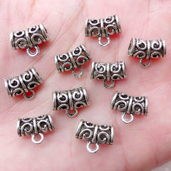 Hollow Charm Holder with Scroll Pattern / Silver Tube Bead Charm Hanger (10pcs / 11mm x 9mm / Tibetan Silver / 2 Sided) Bracelet DIY CHM2242