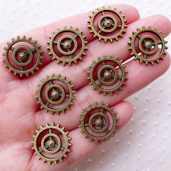 Steampunk Gear Charm (8pcs / 18mm / Antique Bronze) Small Clockwork Cog Wheel Gearwheel Mechanical Watch Gear Clock Parts Decoration CHM2248