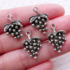 Grapes Charms / Miniature Fruit Pendant (4pcs / 14mm x 21mm / Tibetan Silver / 2 Sided) Wine Glass Charm Jewellery for Wine Lover CHM2249