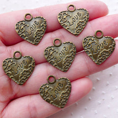 Heart with Love Charms Love Pendant (6pcs / 17mm x 19mm / Antique Bronze) Wedding Valentines Day Decoration Favor Charm Gift Packing CHM2250