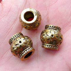 Large Hole Barrel Beads w/ Flower Pattern (3pcs / 13mm x 13mm / Antique Gold) European Bracelet Dreadlock Accessories Dread Jewelry CHM2252