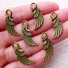 CLEARANCE Feather Wing Charms (6pcs / 10mm x 25mm / Antique Bronze / 2 Sided) Small Angel Wing Pendant Little Wing Drop Earrings Necklace CHM2262