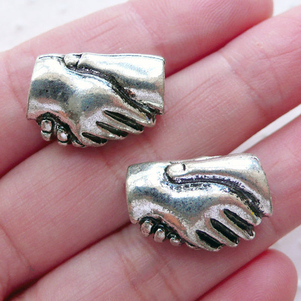 Handshake Beads (2pcs / 19mm x 13mm / Tibetan Silver / 2 Sided) European Beads Large Hole Focal Beads Big Hole Slider Tube Bead CHM2254