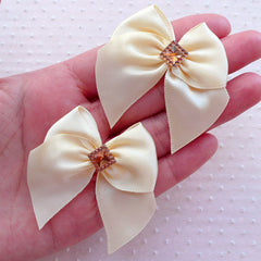 Cream White Satin Ribbon with Square Rhinestone / Fabric Bow Applique (4pcs / 50mm x 45mm) Baby Hair Bow Headband Wedding Favor Decor B142