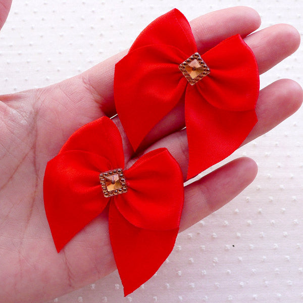 Red Fabric Bow with Sqaure Rhinestone / Satin Ribbon Applique (4pcs / 50mm x 45mm / Red) Wedding Party Decoration Gift Favor Packaging B146