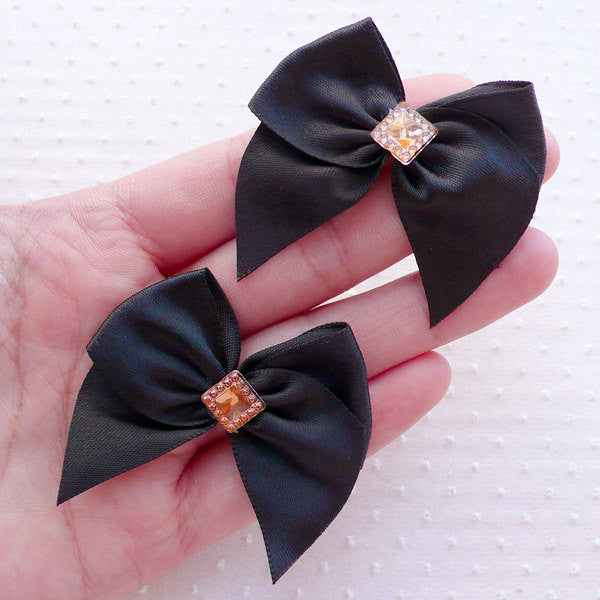 Black Fabric Bow with Sqaure Rhinestone / Satin Ribbon Applique (4pcs / 50mm x 45mm) Headband Hair Bow DIY Wedding Card Embellishment B147