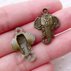 Indian Elephant Head Charms (6pcs / 17mm x 23mm / Antique Bronze) Exotic Jewellery Caparisoned Elephant Animal Travel Vacation Charm CHM2260