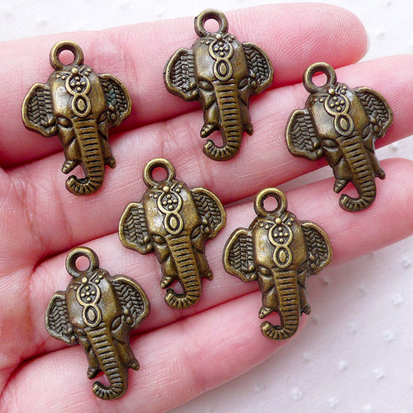 CLEARANCE Indian Elephant Head Charms (6pcs / 17mm x 23mm / Antique Bronze) Exotic Jewellery Caparisoned Elephant Animal Travel Vacation Charm CHM2260