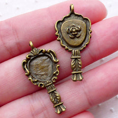 Victorian Hand Mirror Charms (8pcs / 14mm x 29mm / Antique Bronze / 2 Sided) Vintage Fashion Lady Beauty Kawaii Lolita Jewellery CHM2263