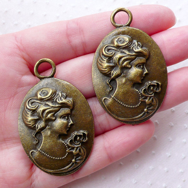 Bronze Lady Cameo Charms (2pcs / 29mm x 46mm / Antique Bronze) Victorian Jewelry Lolita Necklace Pendant Earring Handbag Purse Charm CHM2264