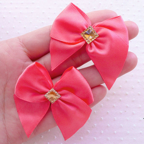 Satin Ribbon with Rhinestone / Fabric Bow Applique (4pcs / 50mm x 45mm / Coral Pink) Hair Bow Hairclip Wedding Card Making Packaging B140