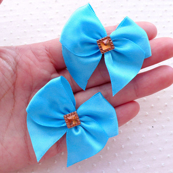 Blue Satin Bow with Sqaure Rhinestone / Fabric Ribbon Applique (4pcs / 50mm x 45mm) Hairclip Hair Accessories Making Gift Decoration B144