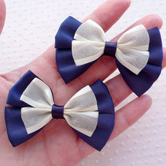 Big Navy Blue Quadruple Bows / Large Satin Ribbon & Gauze Bowties / Mesh Bow Ties / Tulle Fabric Ribbon Applique (2pcs / 65mm x 40mm) B149