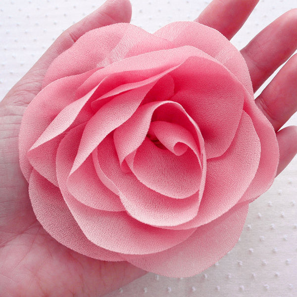 Big Chiffon Peony Flower / Large Ruffle Rose / Fabric Floral Applique (1pc / 10cm / Coral Pink) DIY Wedding Hair Bow Baby Headbands B155