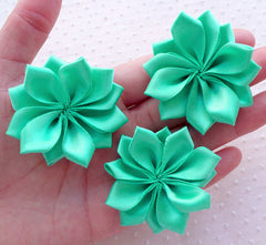 Fabric Floral Applique / Satin Ribbon Flowers (3pcs / 5cm / Light Teal) Toddler Hairbow Baby Head Band DIY Shoe Clip Flowers Making B158