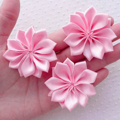 Pink Satin Ribbon Flower Applique / Fabric Flowers (3pcs / 5cm / Light Pink) Floral Hair Accessories Headbands Hair Bows Brooch Making B163