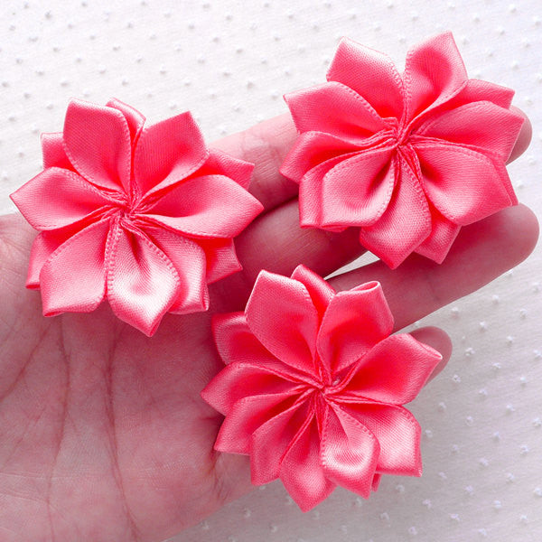 Satin Ribbon Flowers / Fabric Floral Applique (3pcs / 5cm / Coral Pink) Baby Hair Flower Toddler Headbands Hairbow DIY Wedding Decor B168
