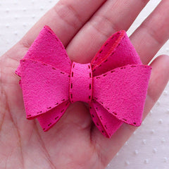 Pink Suede Bows / Suede Ribbon / Triple Bow Ties / Fabric Bowtie Applique (1 pc / 55mm x 45mm) DIY Hair Accessories Hair Bow Headband B152