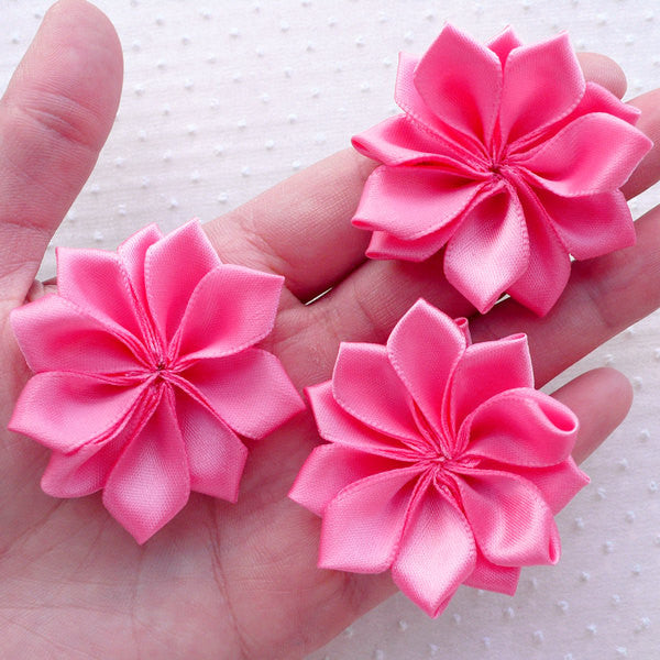 Satin Ribbon Flowers / Fabric Floral Applique (3pcs / 5cm / Pink) Baby Hair Bow Toddler Headbands DIY Card Embellishment Sewing Supply B156