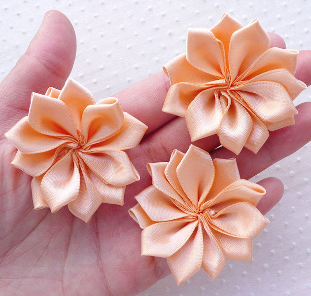Satin Ribbon Flower Applique / Fabric Hair Flowers (3pcs / 5cm / Sunset) Floral Hair Bow Baby Headbands Making Wedding Embellishment B160