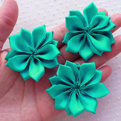 Fabric Floral Applique / Satin Ribbon Hair Flowers (3pcs / 5cm / Teal) Flower Brooch Hair Bow Headbands DIY Party Favor Gift Decoration B165