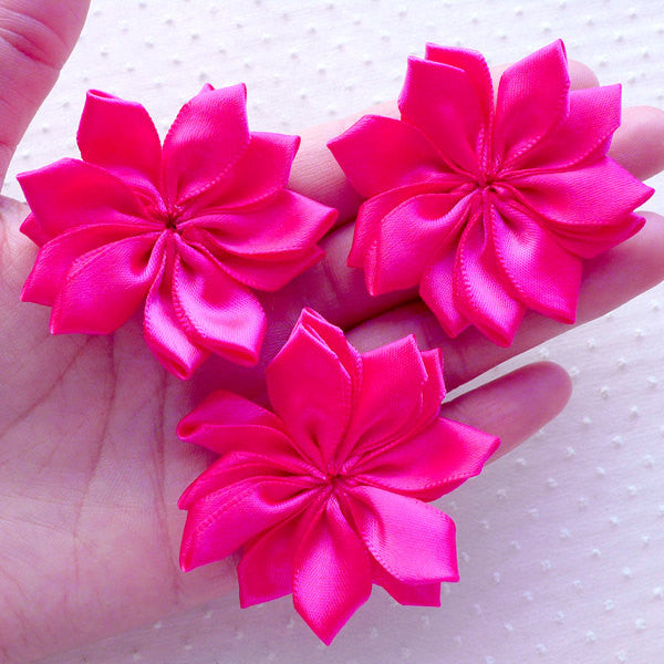 Fabric Flower Applique / Satin Ribbon Ballerina Flowers (3pcs / 5cm / Dark Pink) Floral Hair Bow Toddler Headband DIY Scrapbooking B164