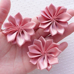 Satin Ribbon Floral Applique / Fabric Flowers (3pcs / 5cm / Desert) Floral Brooch Hairbow Headbands Making Scrapbook Shoe Embellishment B166