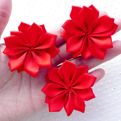 Red Satin Ribbon Flower Applique / Wedding Flowers (3pcs / 5cm) Fabric Floral Embellishment Baby Headbands Toddler Hair Flower Making B167