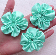 Satin Ribbon Flower Applique / Fabric Ruffle Flowers (3pcs / 5.5cm / Light Teal) Baby Flower Hair Bows Headbands Floral Embellishment B170